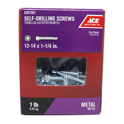 Ace  No. 12-14   x 1-1/4 in. L Hex Washer Head Zinc-Plated  Steel  Self- Drilling Screws  1 lb.