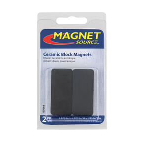 Master Magnetics  1.875 in. Ceramic  Block Magnets  3 lb. pull 3.4 MGOe Black  2 pc.
