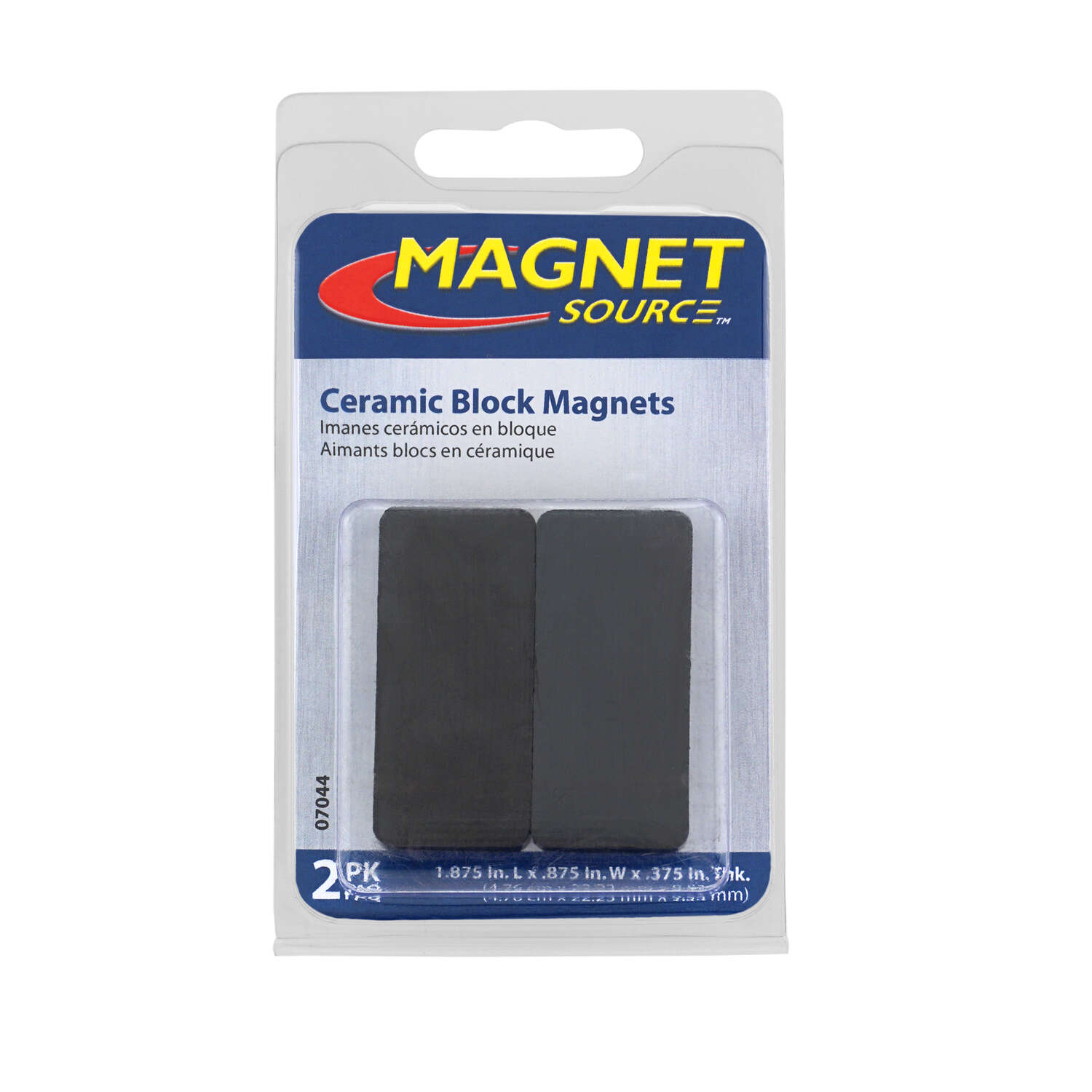 Master Magnetics  The Magnet Source  1.875 in. Ceramic  Block  Block Magnets  3.4 MGOe Black  2 pc.