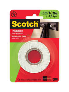 Scotch  50 in. L x 1 in. W x 50 in. L x 1 in. W Mounting Tape  White