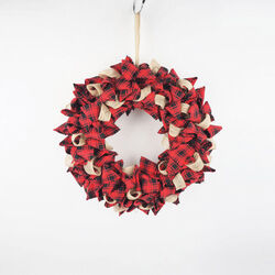 Celebrations  Plaid  Christmas Wreath Decoration  Red/Black  Fabric  1 pk
