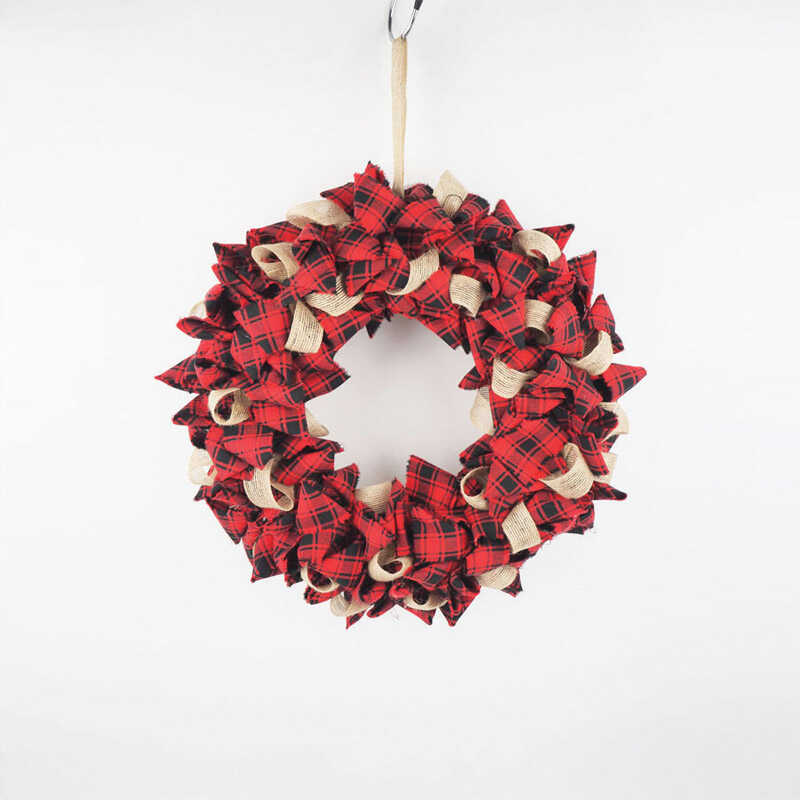 Celebrations  Plaid  Christmas Wreath Decoration  Red/Black  Fabric  15 in. 1 pk