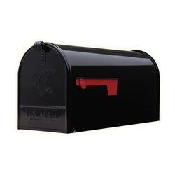 Gibraltar Mailboxes Elite Classic Galvanized Steel Post Mount Black Mailbox