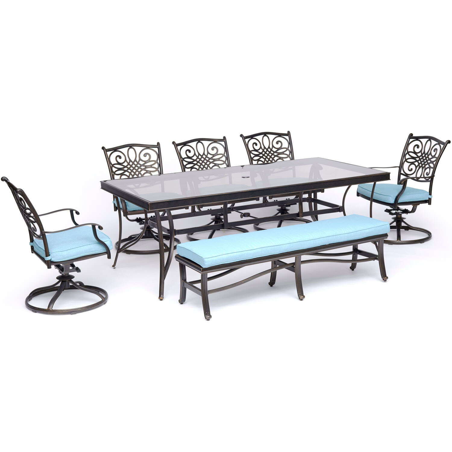 Hanover  Traditions  7 pc. Oil Rubbed Bronze  Aluminum  Dining Patio Set  Blue