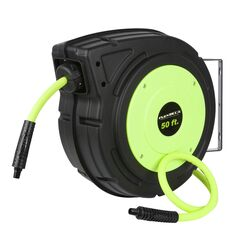 Flexzilla 50 ft. L x 3/8 in. Dia. Hybrid Polymer Retractable Air Hose Reel 150 psi Zilla Green