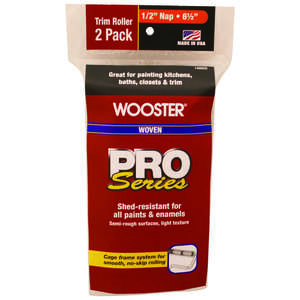 Wooster  Pro Series  Woven  1/2 in.  For Semi-Rough Surfaces Paint Roller Cover  2 pk Trim