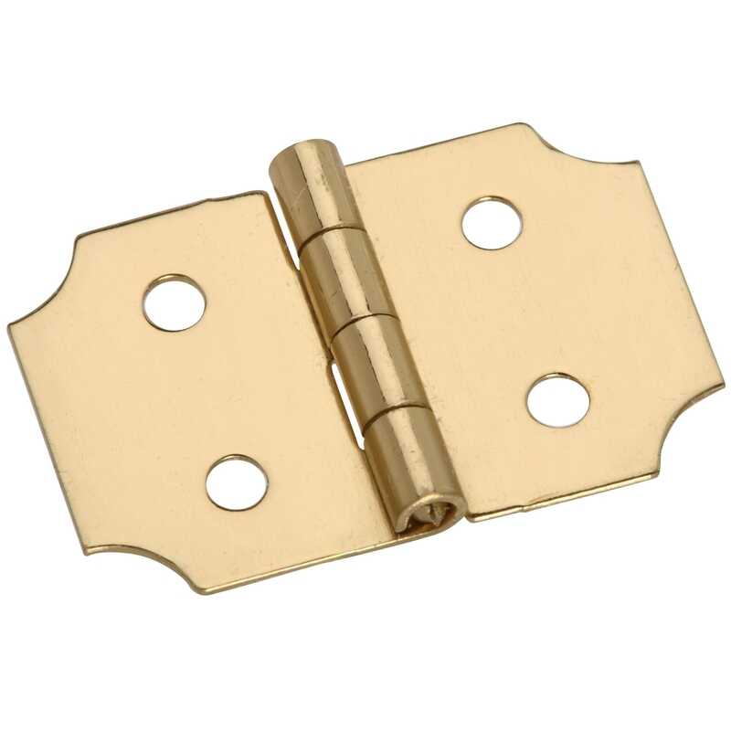 National Hardware  1 in. W x 5/8 in. L Brass  Brass  Decorative Hinge  2 pk