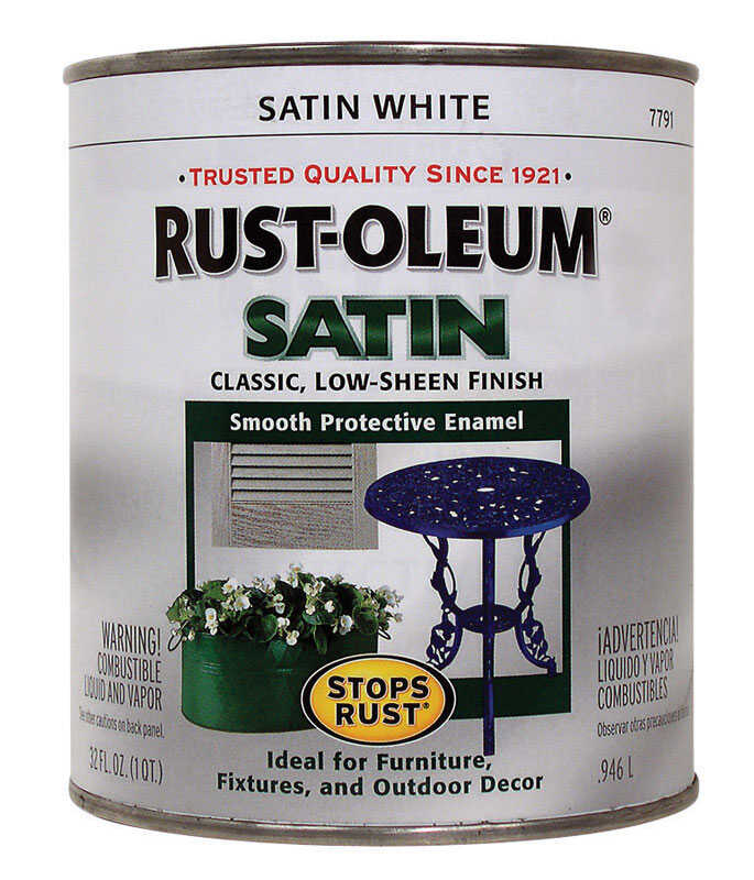 Rust-Oleum  Indoor and Outdoor  White  Satin  Protective Enamel  1 qt.
