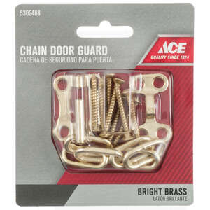 Ace  1.5 in. L Bright Brass  Brass  Chain Door Guard