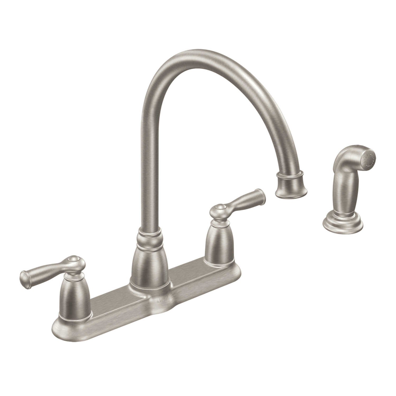 Moen  Banbury  Two Handle  Stainless Steel  Kitchen Faucet  Side Sprayer Included