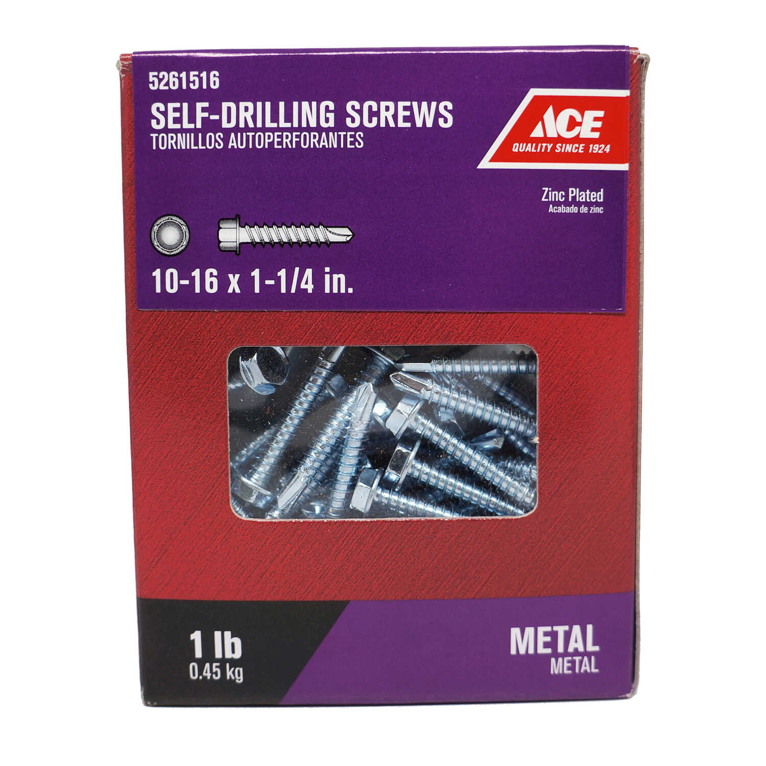 Ace  10-16 Sizes  x 1-1/4 in. L Hex Washer Head Zinc-Plated  Steel  Self- Drilling Screws  1 lb.