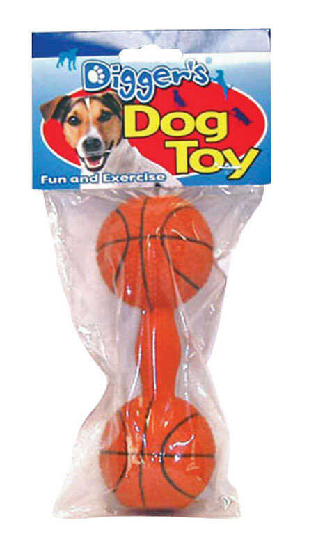 Diggers  Basketball Dumb Bell  Latex  Basketball Dumb Bell Sports Dog Toy  Large  Orange