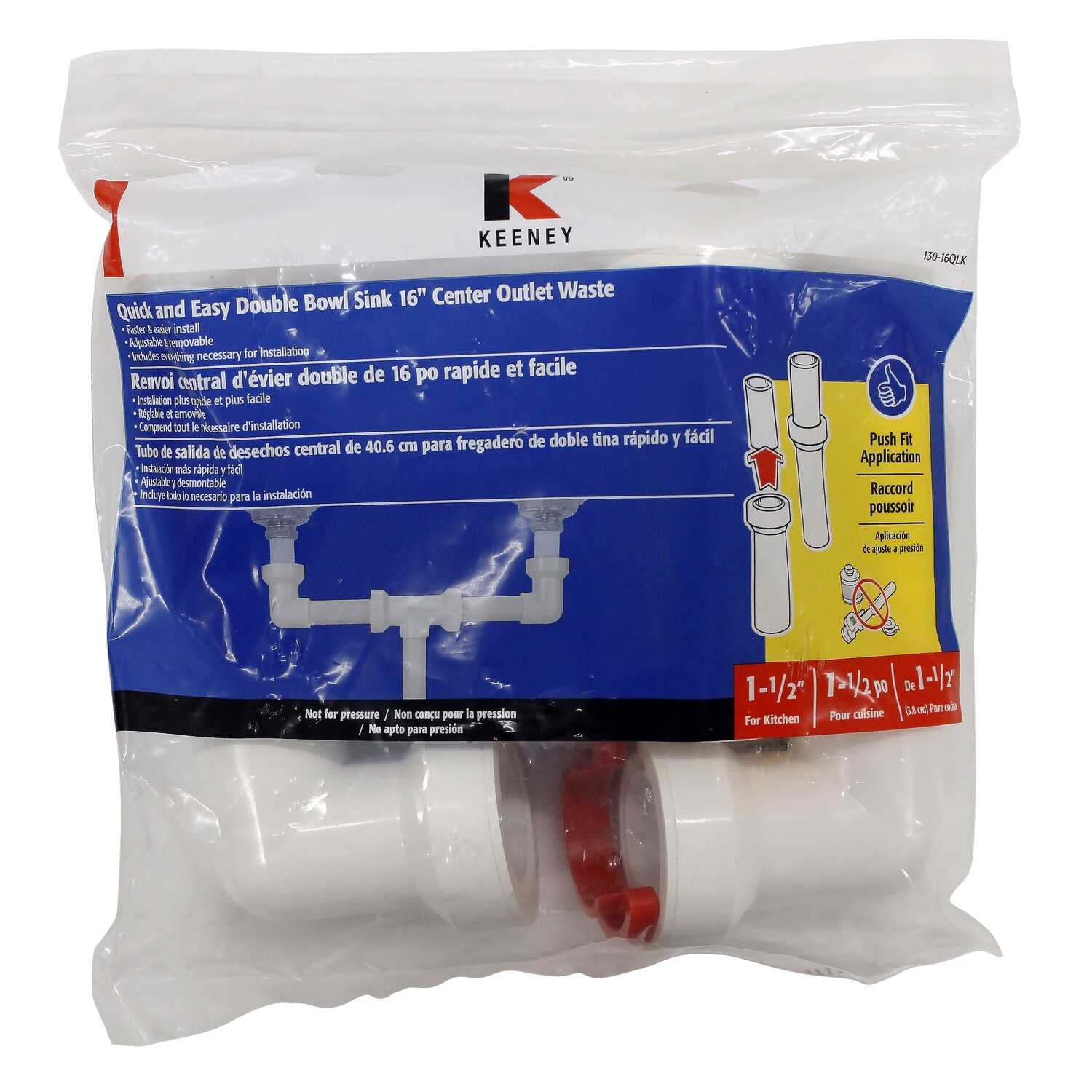 Keeney  Insta-Plumb  1-1/2 in. Dia. x 16 in. L Plastic  Center Outlet Waste