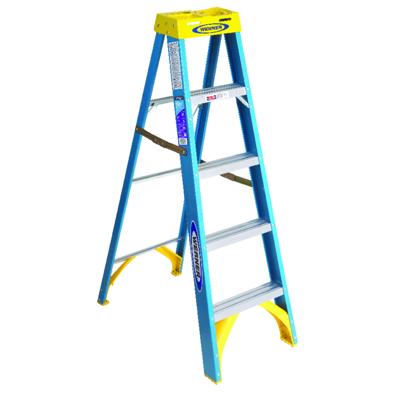 Werner  5 ft. H x 20.5 in. W Fiberglass  Type I  Step Ladder  250 lb.