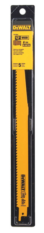 DeWalt  12 in. L x 3/4 in. W Bi-Metal  Reciprocating Saw Blade  6 TPI 5 pk