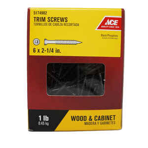 Ace  No. 6   x 2-1/4 in. L Square  Trim Head Black Phosphate  Steel  Screws  1 lb. 190 pk