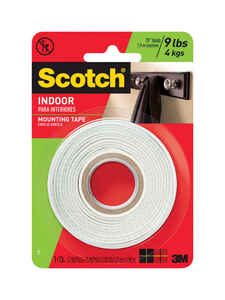 Scotch  75 in. L x 1/2 in. W x 1/2 in. W x 75 in. L White  Mounting Tape