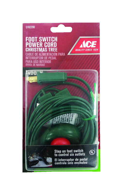 Ace  Indoor  15 ft. L Green  Extension Cord with Switch