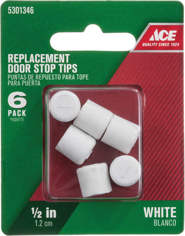Ace  .75 in. H x 1/2 in. W Door Stop Tip  Over the door clip  White  Rubber