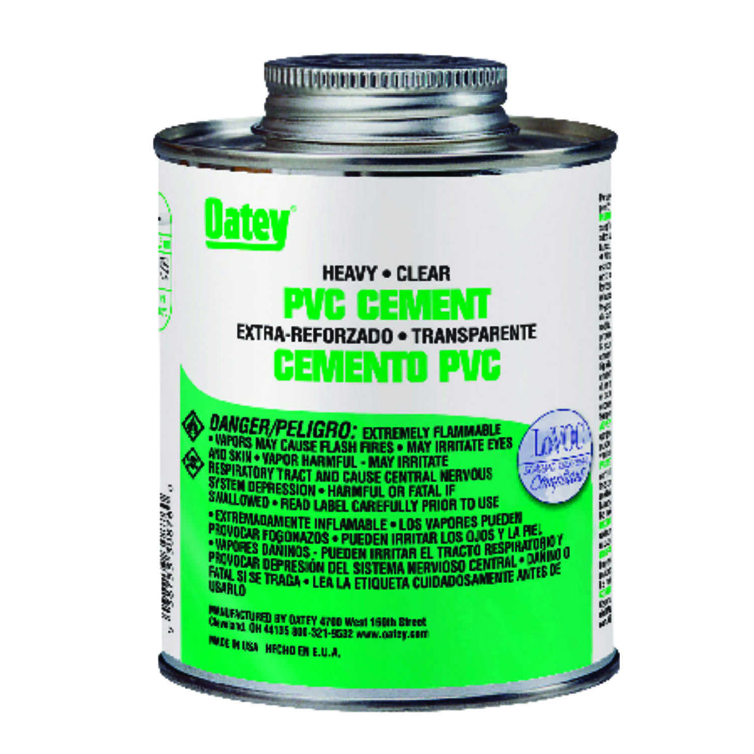 Oatey  Heavy Duty  Clear  Cement  For PVC 8 oz.