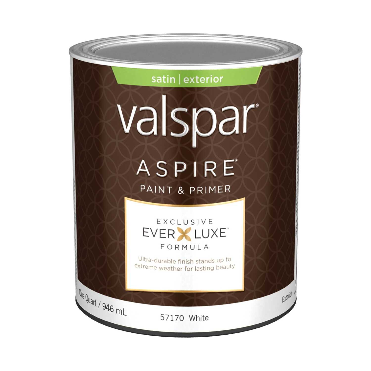 Valspar  Aspire  Basic White  Acrylic Latex  Paint and Primer  Satin  1 qt.