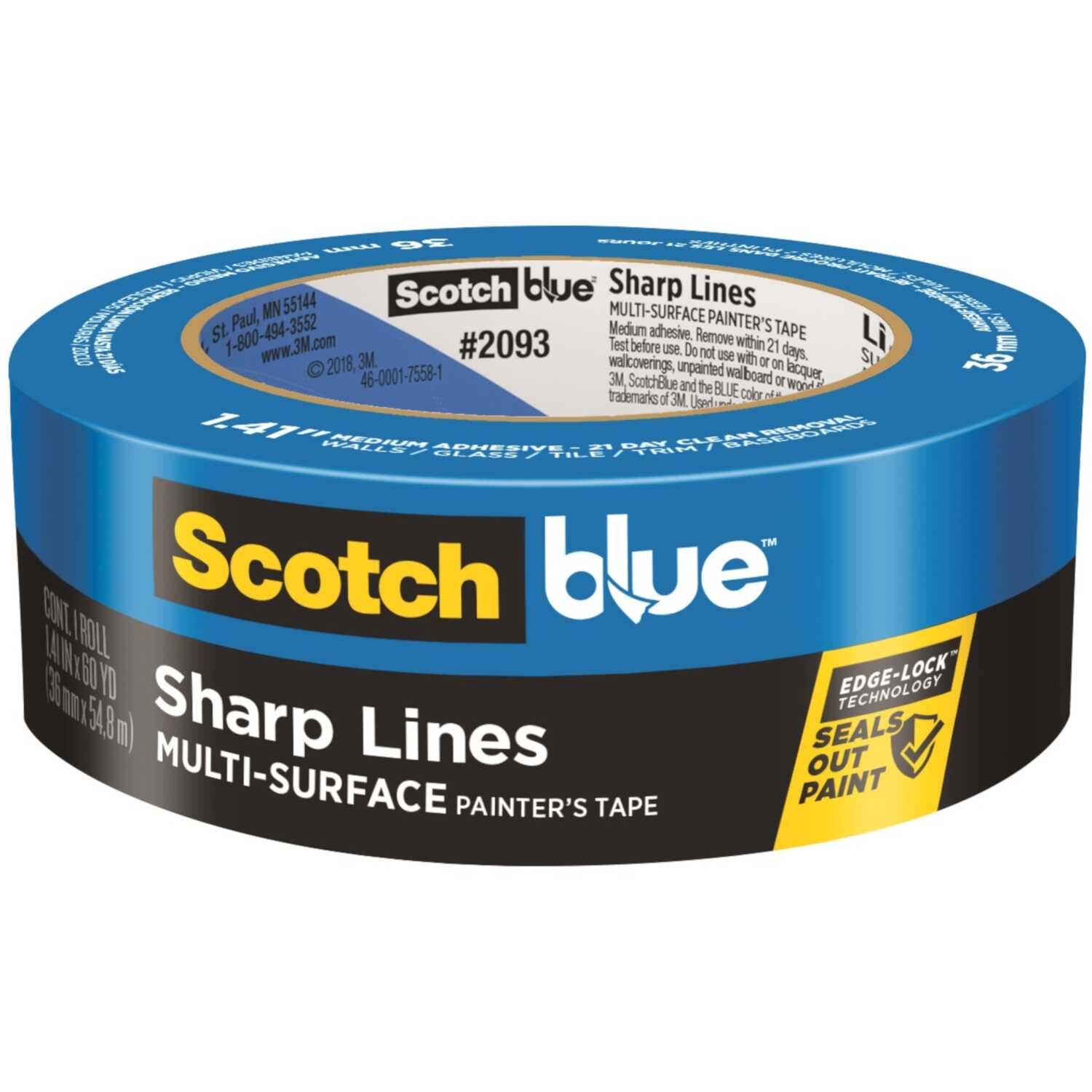 3M  Scotch Blue  1.41 in. W x 60 yd. L Blue  Medium Strength  Painter's Tape  1 pk