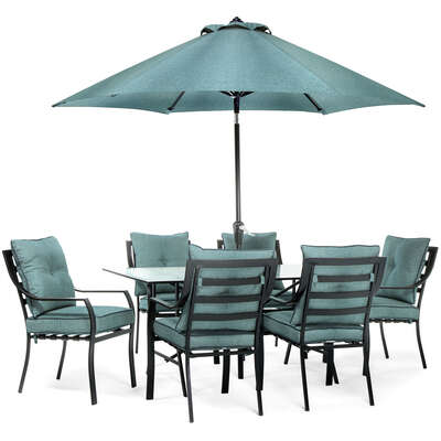 Hanover  Lavallette  7 pc. Minuit  Steel  Dining Set with Umbrella  Ocean Blue
