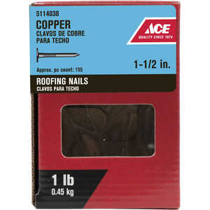 Ace  1-1/2 in. L Roofing  Copper  Nail  Large Head Smooth Shank  1 lb.