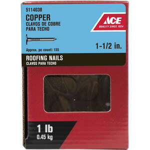 Ace  1-1/2 in. L Roofing  Copper  Nail  Large  Smooth Shank  1 lb.