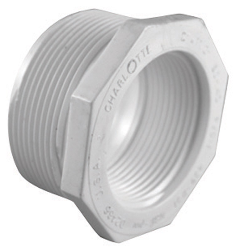 Charlotte Pipe  Schedule 40  1-1/2 in. MPT   x 3/4 in. Dia. FPT  PVC  Reducing Bushing