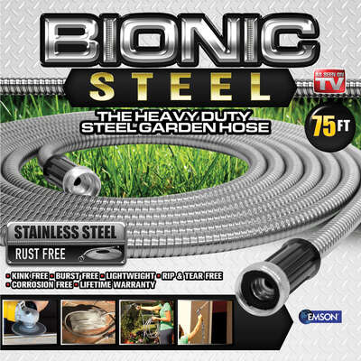 Bionic Steel  Pro  5/8 in. Dia. x 75 ft. L Heavy-Duty  Silver  Stainless Steel  Garden Hose