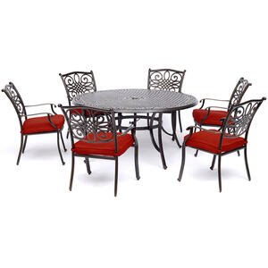 Hanover  Traditions  7 pc. Bronze  Patio Set  Red