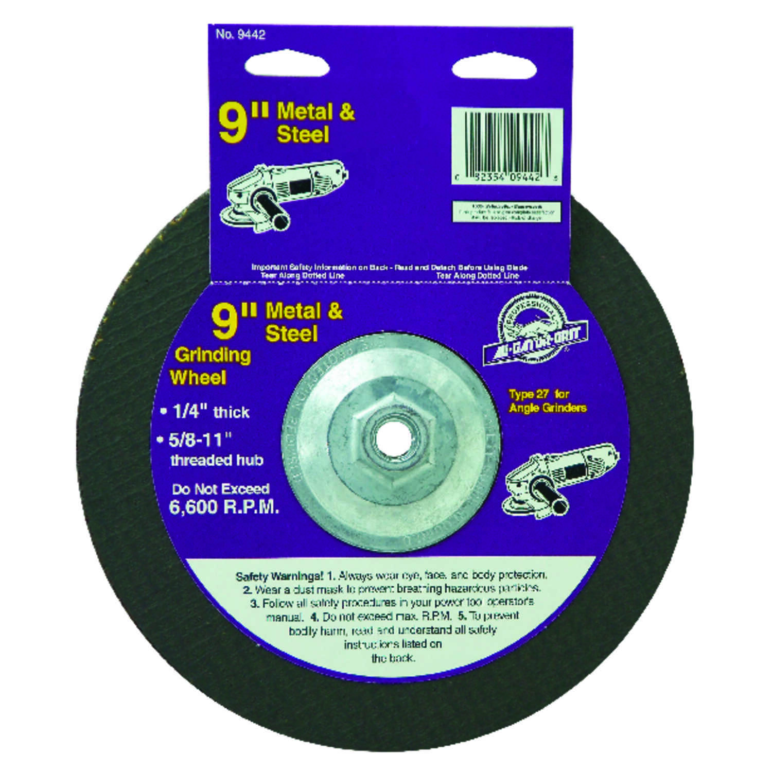 Gator  9 in. Dia. x 1/4 in. thick  x 5/8 in.   Aluminum Oxide  Metal Grinding Wheel  6600 rpm 1 pc.