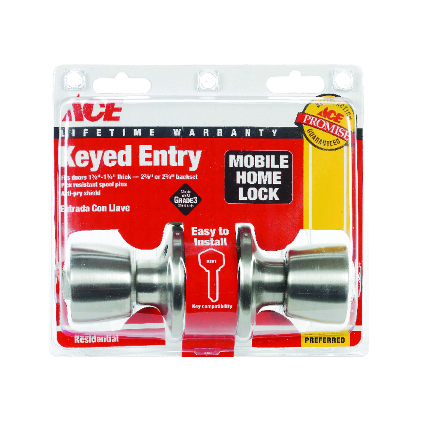 Ace  Mobile Home  Satin  Stainless Steel  ANSI/BHMA Grade 3  1-3/4 in. Entry Lockset