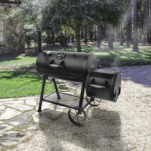 Oklahoma Joe's  Longhorn  Charcoal  64.3 in. W Black  Offset Smoker