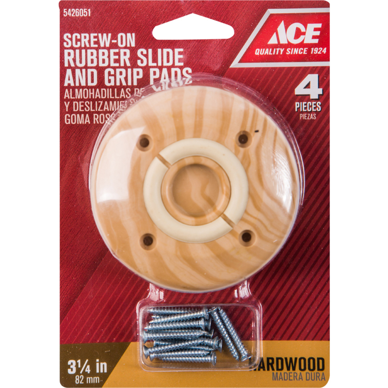 Ace  Rubber  Slide and Grip Dual Function Pad  Brown  3-1/4 in. W Round  4 pk