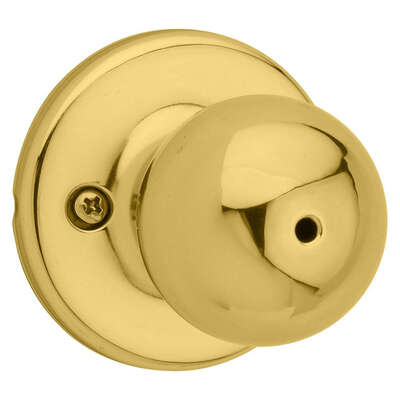 Kwikset  Polo  Polished Brass  Steel  Privacy Knob  3  Right or Left Handed