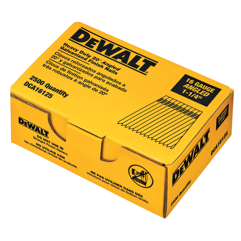 DeWalt  16 Ga. Smooth Shank  Angled Strip  Finish Nails  1-1/4 in. L 2500 pk