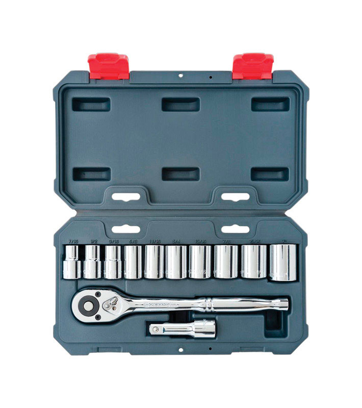 Crescent  1/2 in.  SAE  6 and 12  Socket Wrench Set  12 pc.
