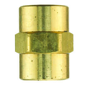 JMF  1/2 in. Dia. x 1/2 in. Dia. FPT To FPT  Yellow Brass  Coupling