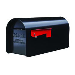 Gibraltar Mailboxes Ironside Contemporary Galvanized Steel Post Mount Black Mailbox