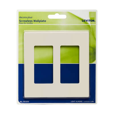 Leviton  Decora Plus  Almond  2 gang Polycarbonate  Rocker  Screwless Wall Plate  1 pk