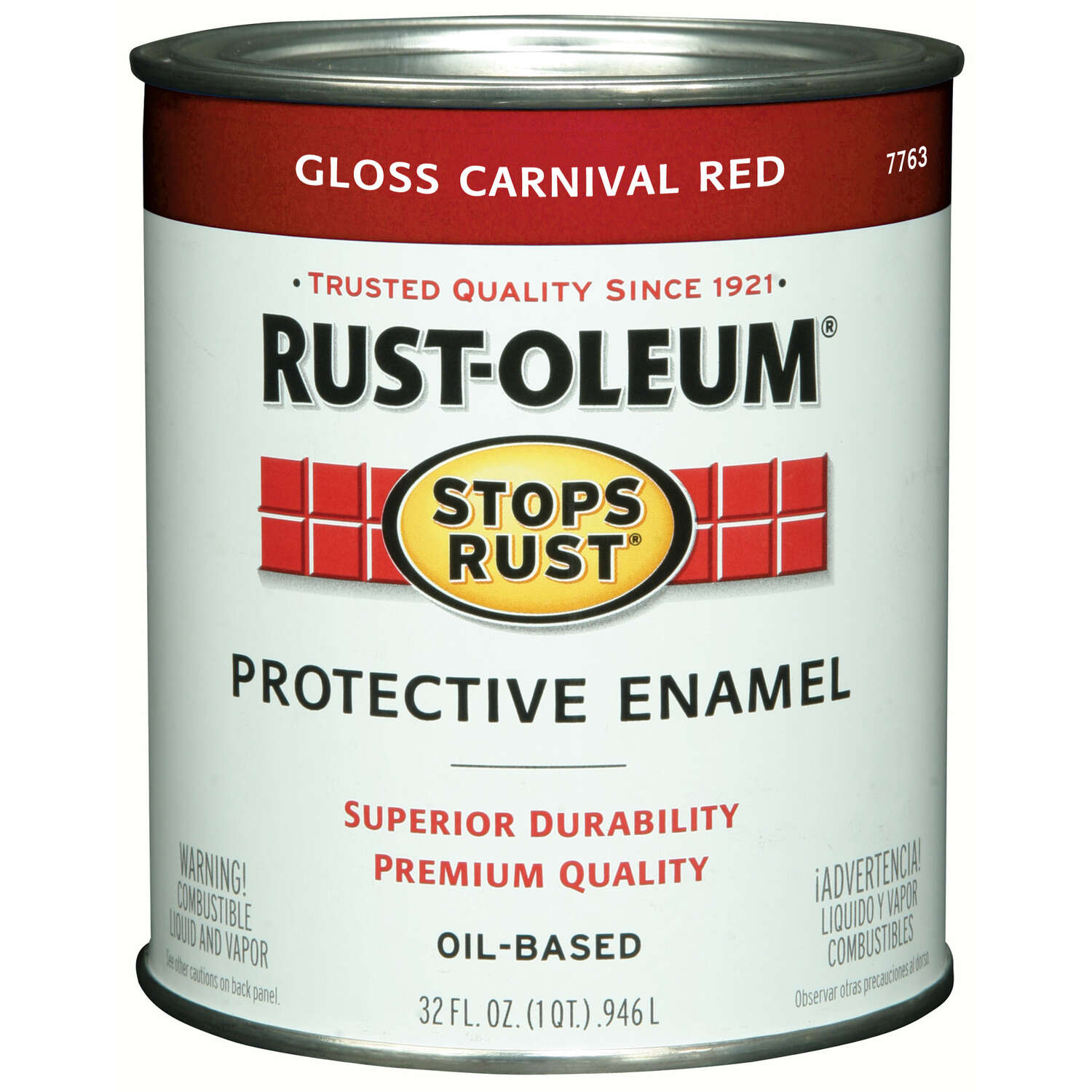 Rust-Oleum Stops Rust Indoor and Outdoor Gloss Carnival Red Oil-Based Protective Paint 1 qt.