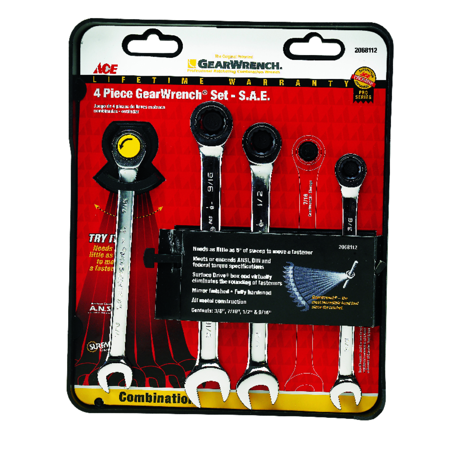 Ace  Multiple   Ratcheting Gearwrench Set  4 pc. SAE