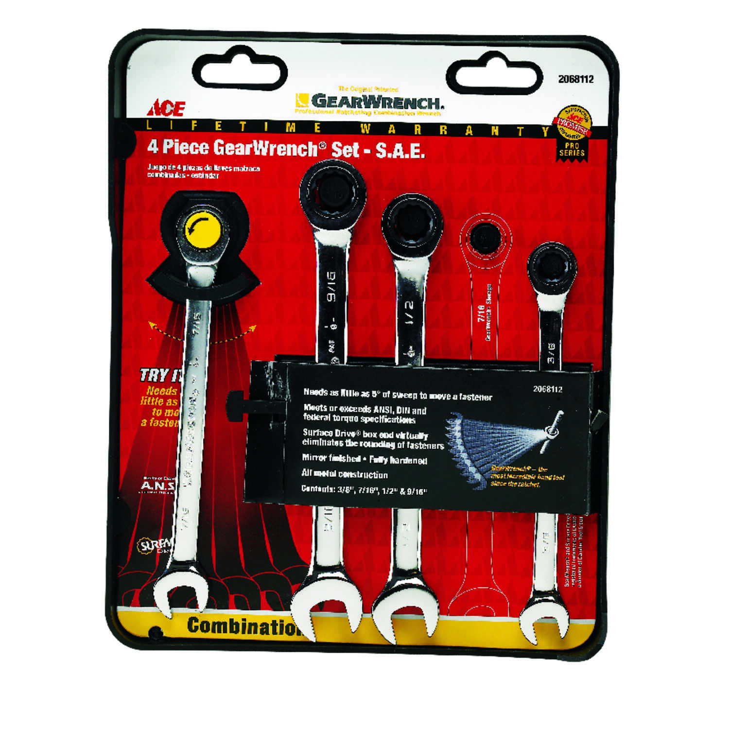 Ace  Multiple   SAE  Ratcheting Gearwrench Set  4 pc.