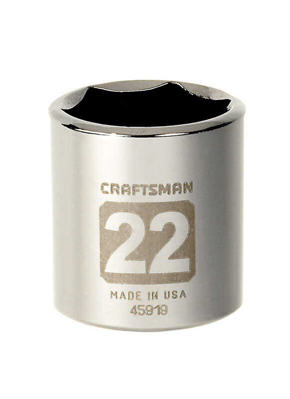 Craftsman  22 mm  x 3/8 in. drive  Metric  6 Point Standard  Socket  1 pc.