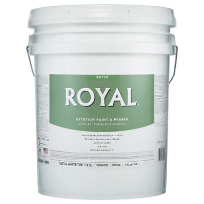 Royal Satin Tint Base Ultra White Base Paint Exterior 5 gal.