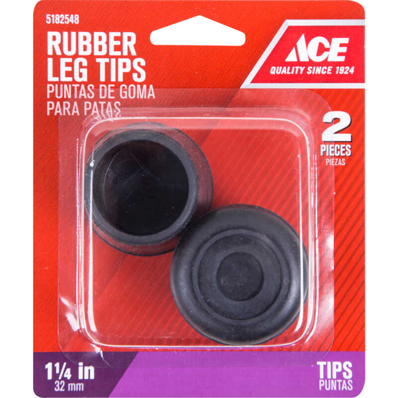 Ace  Rubber  Leg Tip  Black  Round  1-1/4 in. W 2 pk