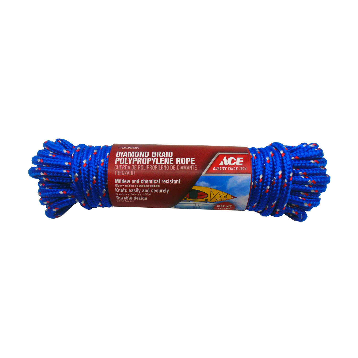 Ace  3/8 in. Dia. x 50 ft. L Assorted  Diamond Braided  Polypropylene  Rope