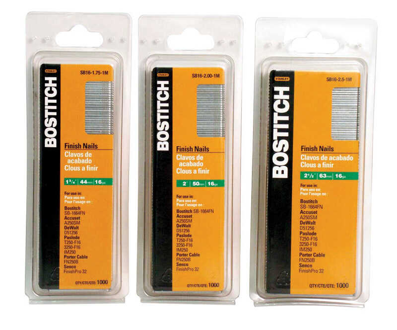 Bostitch  1-1/4 in. 16 Ga. Straight Strip  Finish Nails  Smooth Shank  1000 pk